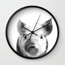 Black and white pig portrait Wall Clock