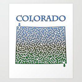 Colorado State Outline Mountain Themed Maze & Labyrinth Art Print