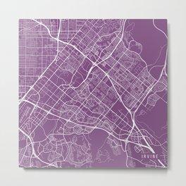 Irvine Map, USA - Purple Metal Print