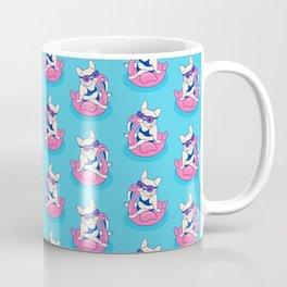 Frenchie enjoys Summer on Flamingo Pool Float in swimming pool Coffee Mug