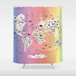 Cartoon animal world map for children and kids, back to schhool. Rainbow. Scandinavian decor. Shower Curtain