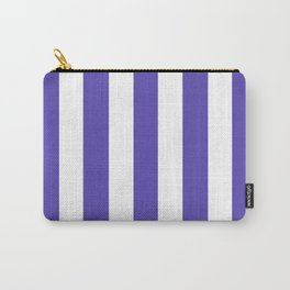 Plump Purple - solid color - white vertical lines pattern Carry-All Pouch