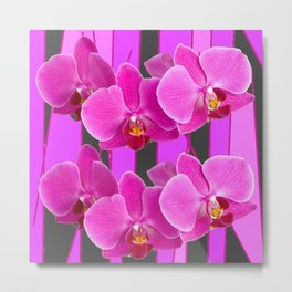 MODERN CHARCOAL GREY COLOR CERISE PURPLE ORCHIDS Metal Print