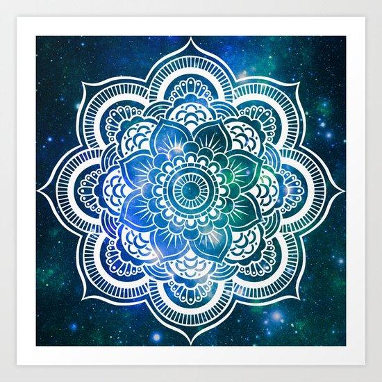 Mandala : Blue Green Galaxy Art Print