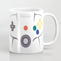 nintendo Mugs featuring Nintendo 64 by Bradley Bailey