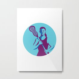 Female Lacrosse Player Stick Circle Retro Metal Print