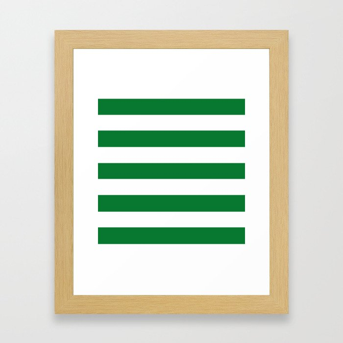 La Salle green - solid color - white stripes pattern Framed Art Print