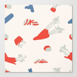 Minimal retro pattern with carrot&celery Canvas Print