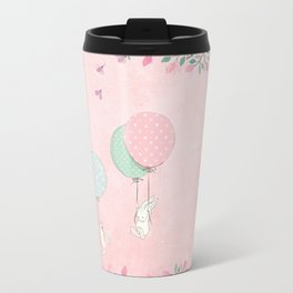 Cute flying Bunny with Balloon and Flower Rabbit Animal on pink floral background Travel Mug