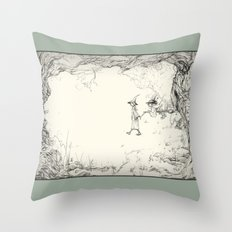 Witches on a Walk Throw Pillow