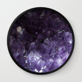 Purple Crystals III Wall Clock
