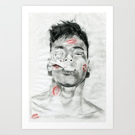 Kiss-Bombed Art Print