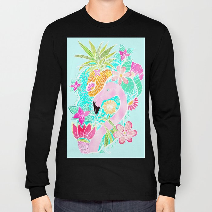 Tropical summer watercolor flamingo floral pineapple Long Sleeve T-shirt