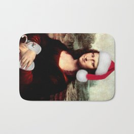 Mona Lisa Wearing a Santa Hat Bath Mat