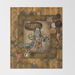Awesome steampunk women with owl Throw Blanket