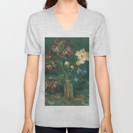 Peonies and Blue Delphiniums by Vincent van Gogh Unisex V-Neck