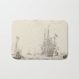 Dutch Ships near the Coast Oil Painting by Willem van de Velde the Elder Bath Mat