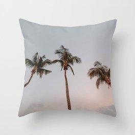 three palm trees Throw Pillow