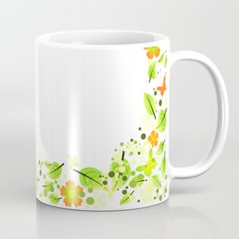 Frame from abstract leaves, flowers and butterflies Coffee Mug