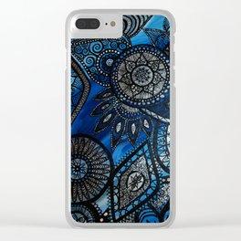 Blue Mandala Pattern Clear iPhone Case
