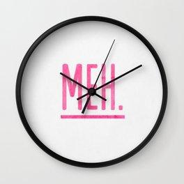 Meh Fuck Watercolor Brushstroke Calligraphy Typography Pink Wall Clock
