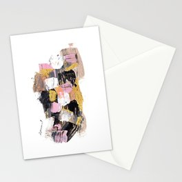 Modern abstract acrylic paint pink black gold salmon brushstrokes part 1 Stationery Cards