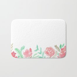 Pink Florals And Mint Leaves Bath Mat