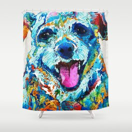 Colorful Dog Art - Smile - By Sharon Cummings Shower Curtain