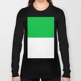 White and Dark Pastel Green Horizontal Halves Long Sleeve T-shirt