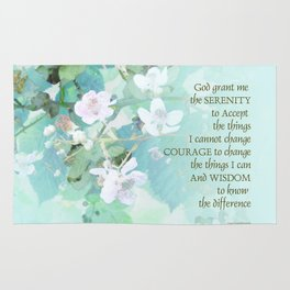 Serenity Prayer Blackberry Blossoms Rug