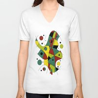 cello V-neck T-shirts featuring Abstract #226 The Cellist #2 by Ron Trickett