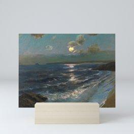 Twilight Moon coastal nautical landscape painting by Julius Olsson Mini Art Print
