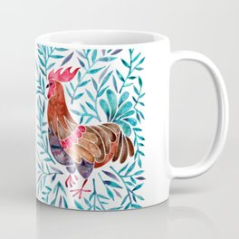 Le Coq – Watercolor Rooster with Turquoise Leaves Coffee Mug
