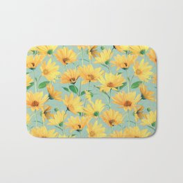 Painted Golden Yellow Daisies on soft sage green Bath Mat