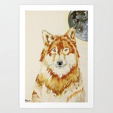 Wolf of A Moon Art Print