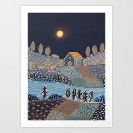 Midnight landscape Art Print