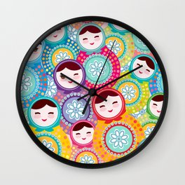 Russian dolls matryoshka, pink blue green colors colorful bright pattern Wall Clock