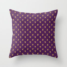 egyptian traditional ethnic golden scarabs on purple pattern Throw Pillow
