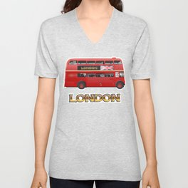 Red Londn Bus Unisex V-Neck