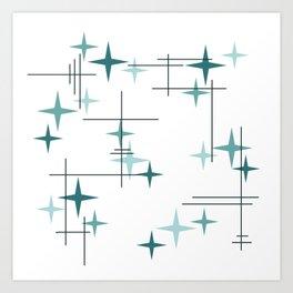 Mid Century Modern Stars (Teal) Kunstdrucke
