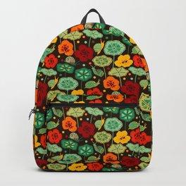 Nasturtiums & Snails On Brown Backpack