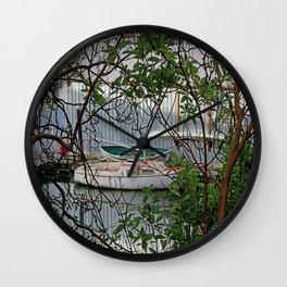 BOATHOUSE THROUGH MADRONA TREES Wall Clock