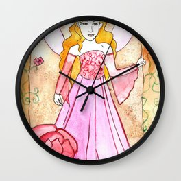 Lavender Rose Fairy Wall Clock