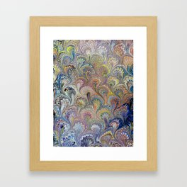 Peacock Water Marbling Framed Art Print