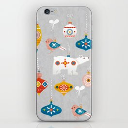christmas vintage decorations with bear and bird iPhone Skin