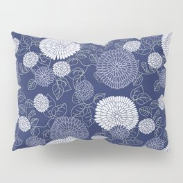 Indigo Chrysanthemums Pillow Sham
