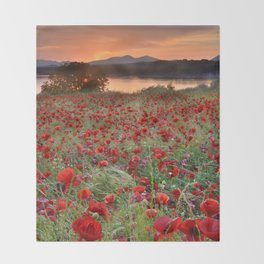 Poppies at the lake at sunset Throw Blanket