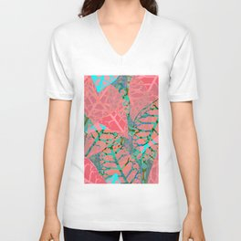 Coral Palm Shadows Unisex V-Neck