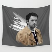 castiel Wall Tapestries featuring Supernatural - Castiel by firatbilal