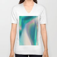 glitch V-neck T-shirts featuring Pacifica glitch by La Señora